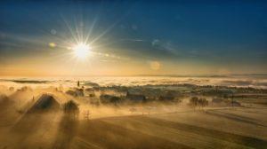 matrimonial property Sunrise over foggy remote village. Cath Karlin Family Law Separation & Divorce